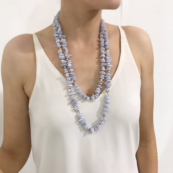 Bcharmd Zara Bluelace Agate Necklace 233NG-T