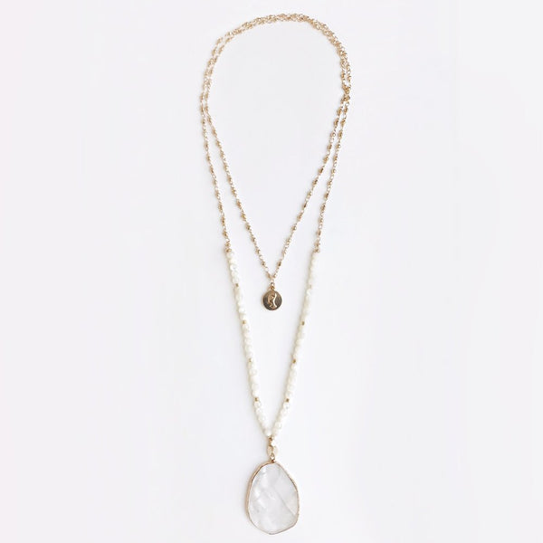 Bcharmd Sera Seashell & White Quartz Necklace 242NG