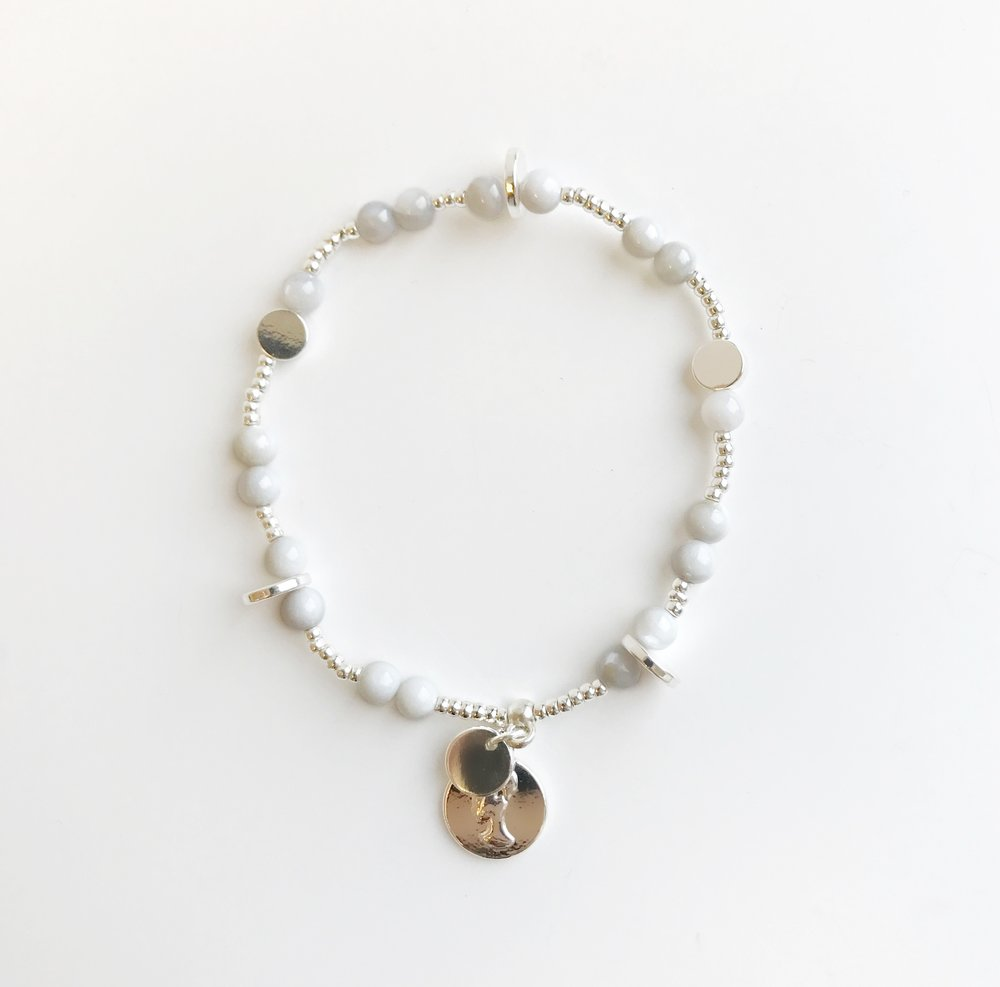 Bcharmd Rose Grey Seashell Bracelet 262BG