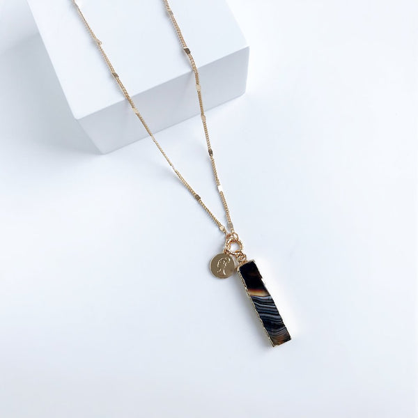 Bcharmd Farrah Black Agate Necklace 431NG