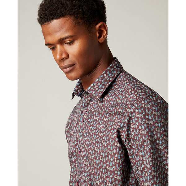 Remus Tapered Fit Printed Pure Cotton Smart Shirt 18053_67 Burgundy