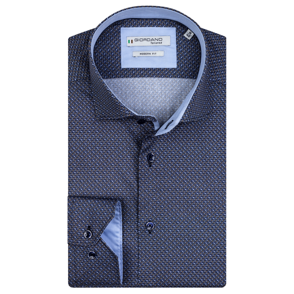 Giordano Mens Baggio Eyes Modern Fit Cut Away Collar Shirt 207855 Navy