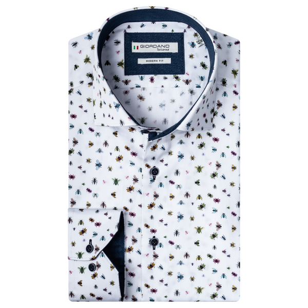 Giordano Mens Bees and Insects Modern Fit Cut Away Collar Shirt 207858 White
