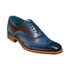 Barker McClean Leather shoes - Navy Hand Painted / Choc Suede - 3829FW31