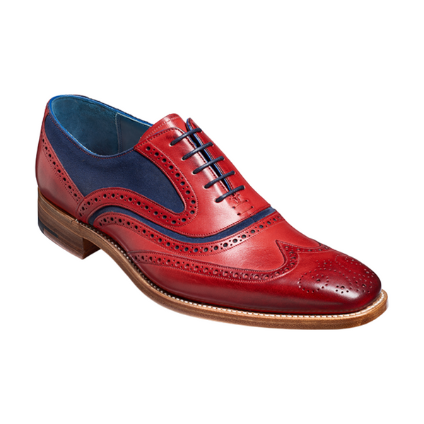 Barker McClean Leather shoes - Red Hand Painted / Navy Suede - 3829FW30