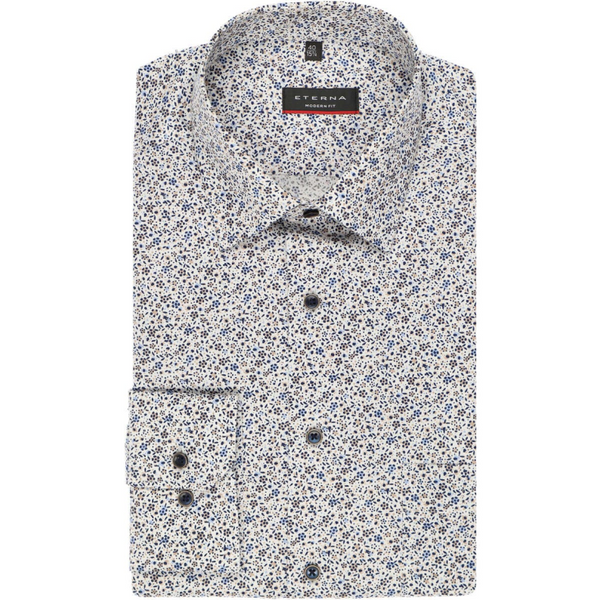 ETERNA MODERN FIT SHIRT BROWN, PATTERNED 3971.X19P.29
