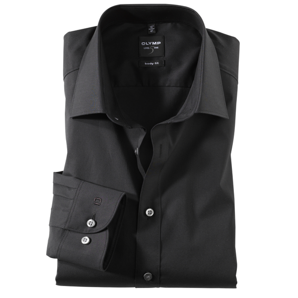 OLYMP LEVEL FIVE BODY FIT COTTON STRETCH SLIM FIT FORMAL SHIRTS - BLACK 6090/64