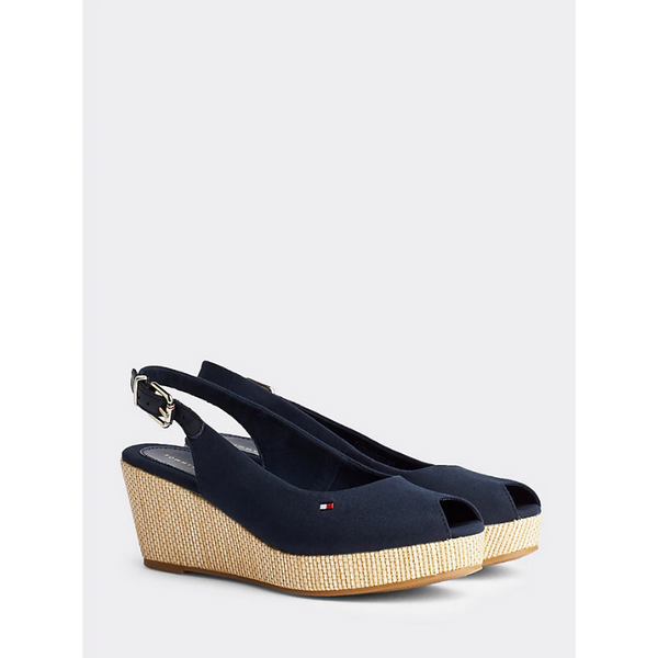 Tommy Hilfiger ICONIC SLINGBACK WEDGES Elba FW0FW04788 - DESERT SKY