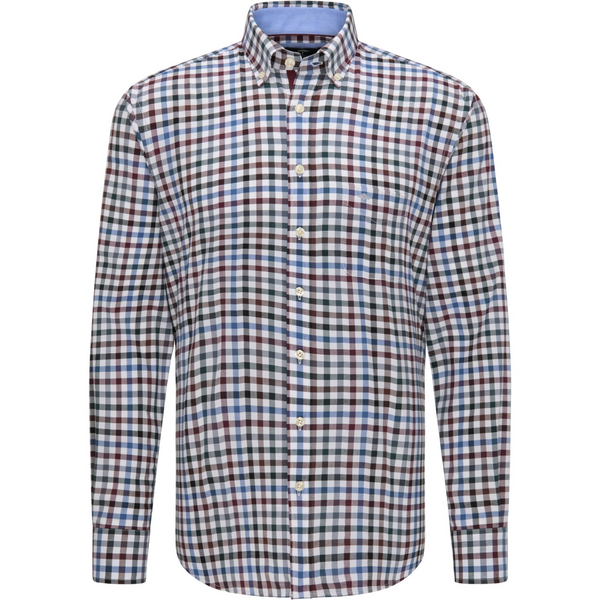 Fynch Hatton 1220-8030 Supersoft Cotton Shirt with Chequered Pattern - Amarena-Emerald