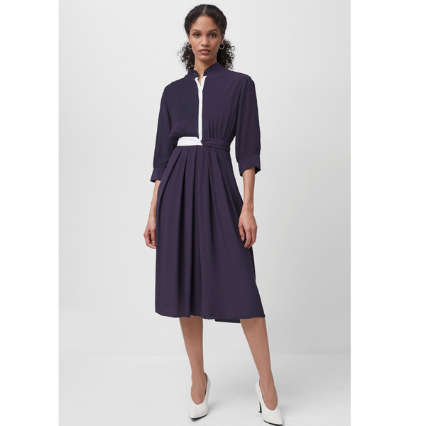 French Connection AIDEN DRAPE CONTRAST SHIRT DRESS NAVY 71QBH