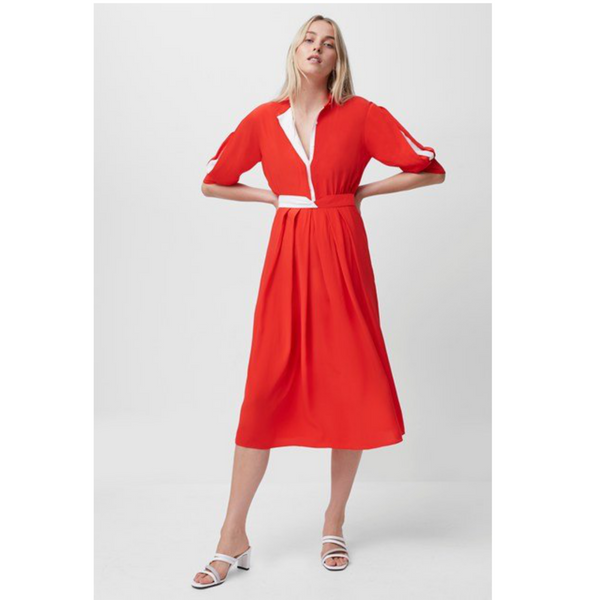 French Connection AIDEN DRAPE CONTRAST SHIRT DRESS Fiery RED 71QBH