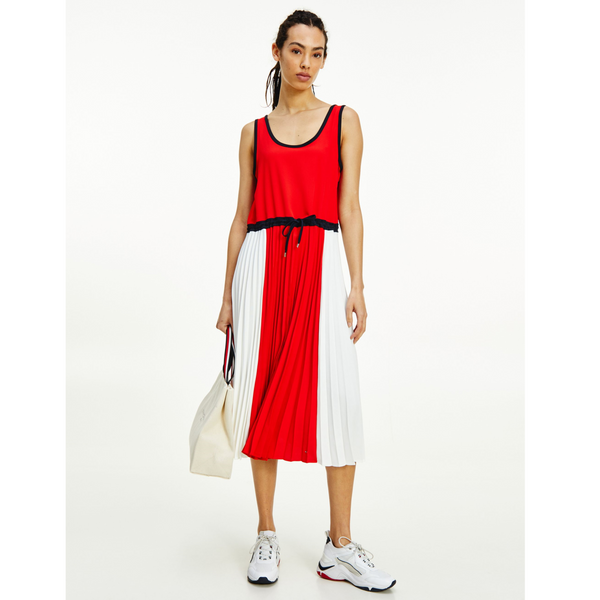 Tommy Hilfiger SLEEVELESS PLEATED MIDI DRESS 6430