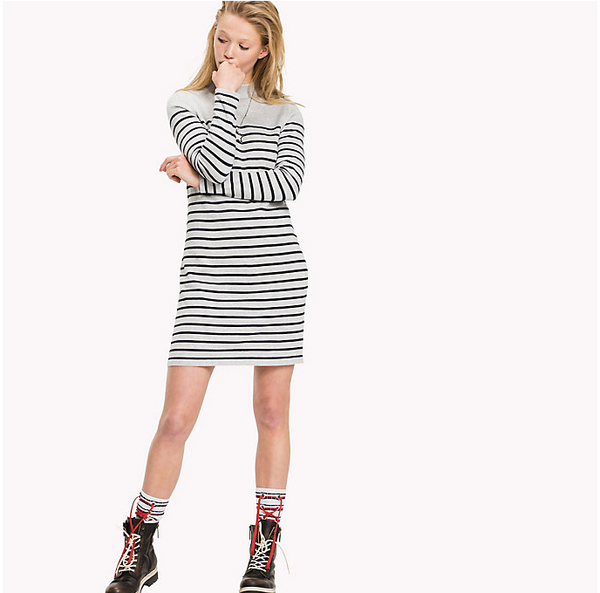 Tommy Jeans Cotton Blend Breton Knit Dress 2739