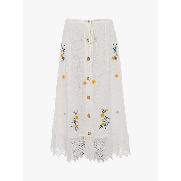French Connection EKA EMBROIDERED BUTTON FRONT SKIRT 73NNF