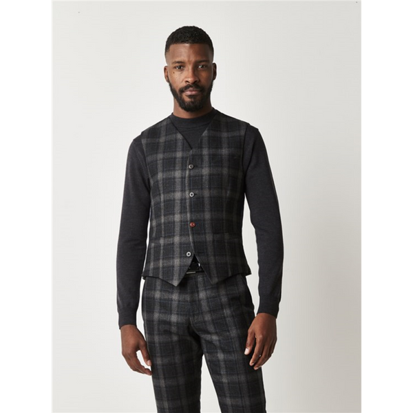 Gibson London Tweed Check Waistcoat G18215FW - Charcoal