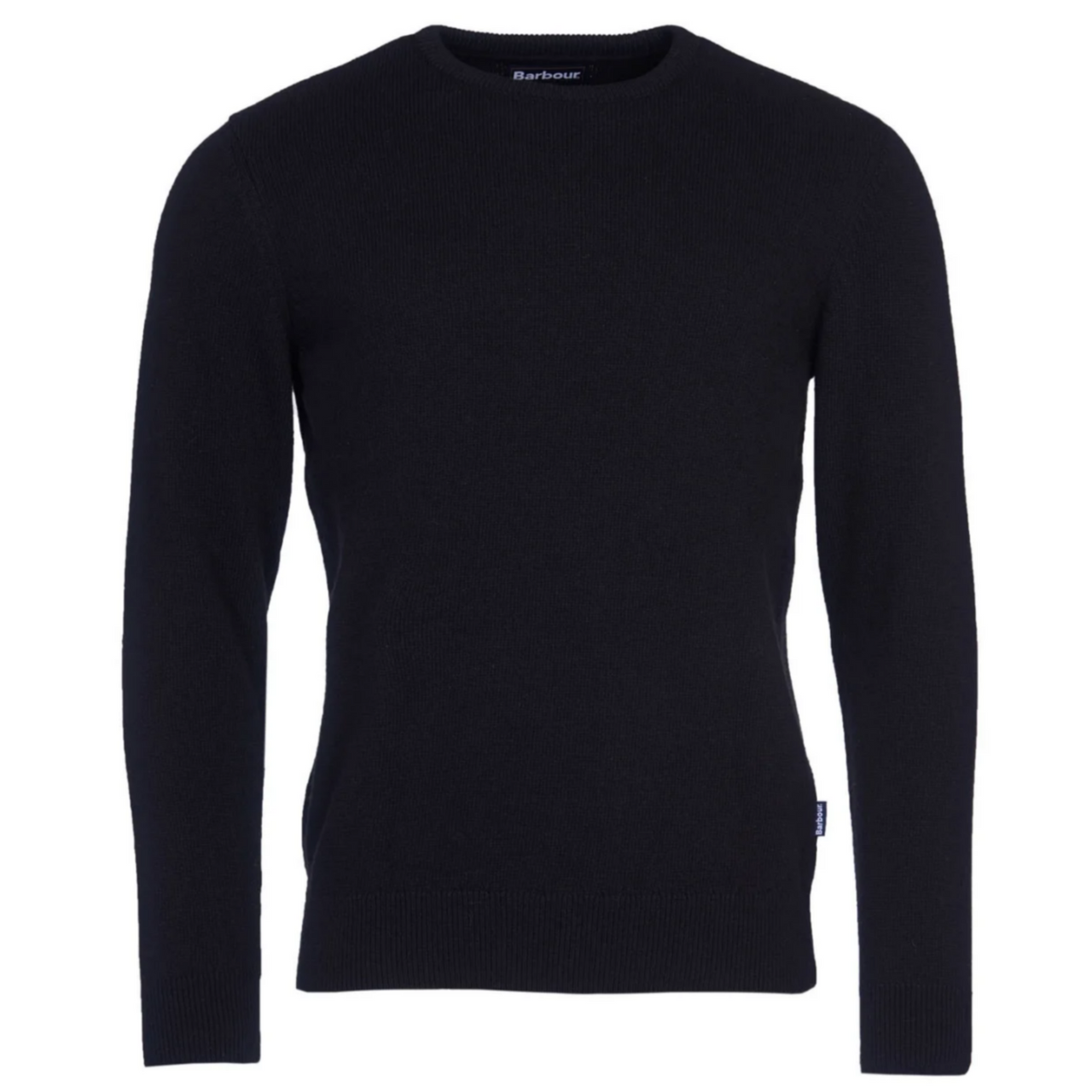 Barbour Harold Wool & Cotton Crew Jumper WITH TARTAN ELBOW PATCHES - Black MKN1112BK11