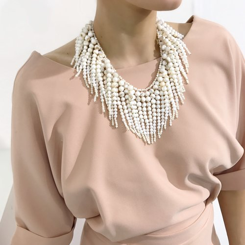 Bcharmd Albertine White Freshwater Shell Statement Necklace 200NG