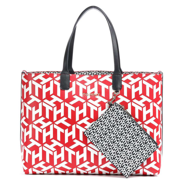Tommy Hilfiger ICONIC MONOGRAM PRINT CONTRAST LINING TOTE 8624
