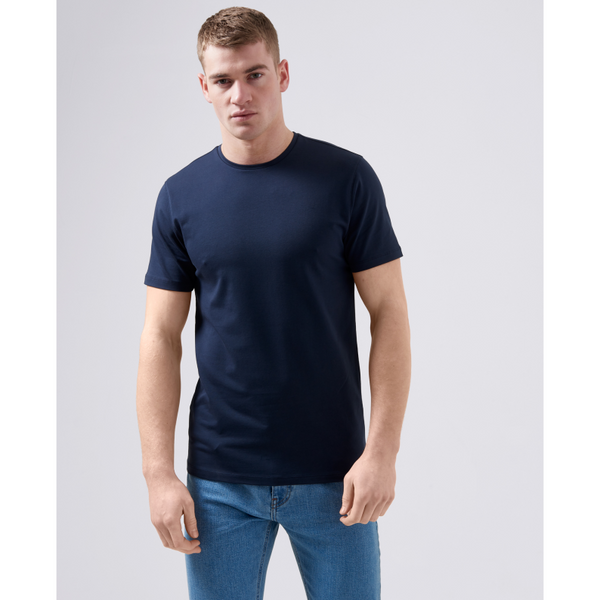 Remus Uomo Short Sleeve Casual T-Shirt Soft and Stretchy Luxurious Feel 53121 - Navy