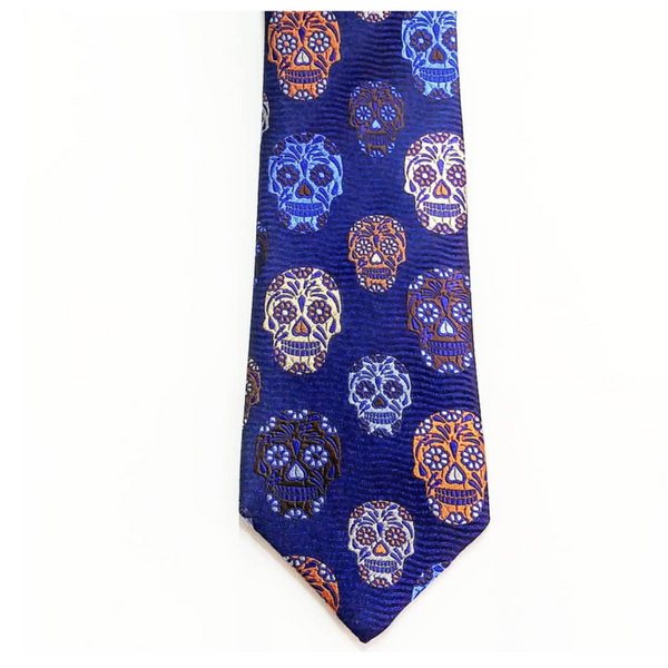 VAN BUCK LIMITED EDITION SKULL DESIGNER SILK TIE MADE IN ENGLAND - NAVY/SKY