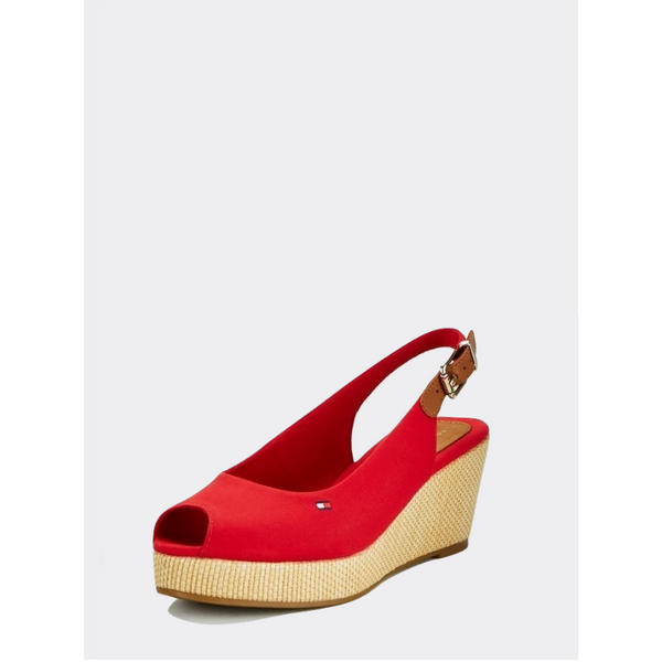 TOMMY HILFIGER ICONIC SLINGBACK WEDGES ELBA FW0FW04788 - RED