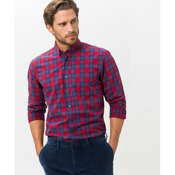 BRAX MEN'S PURE COTTON SHIRT DANIEL CHECK 43-3477 - RED