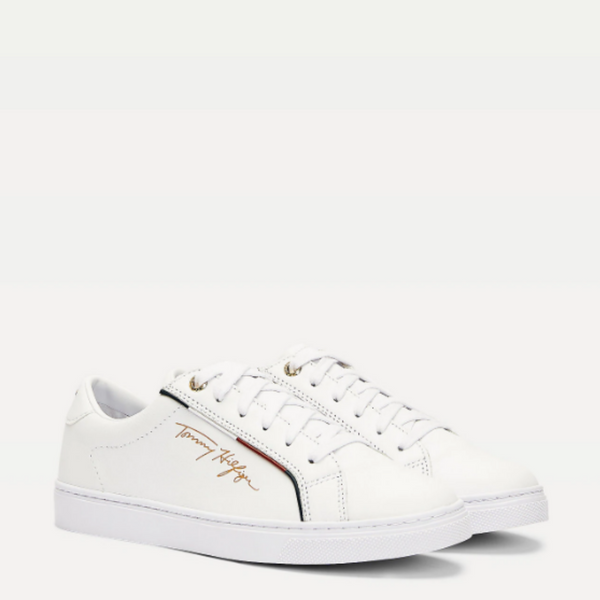 Tommy Hilfiger SIGNATURE LEATHER MIX TRAINERS 5015