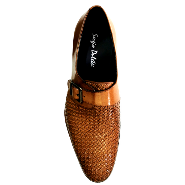 Sergio Duletti Men's Monk Strap Leather Weave Shoe Chester HA18482 - TAN