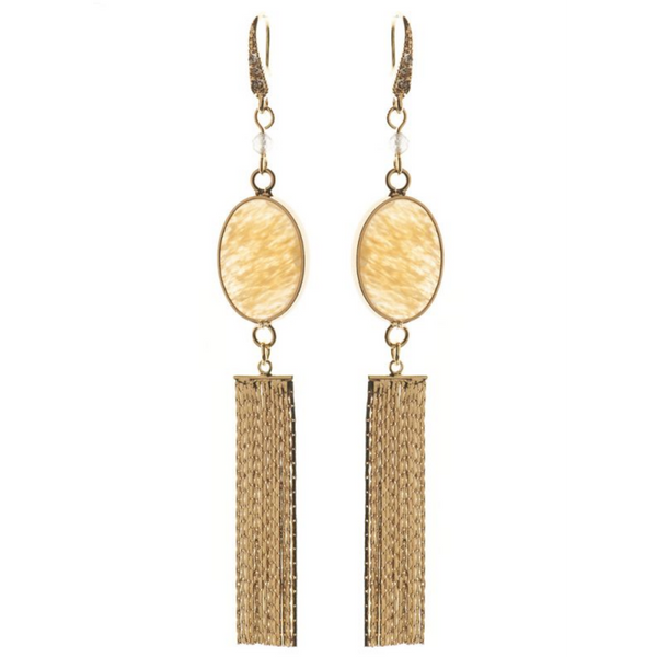 Rosie Fox Citrine Gemstone Gold Tassel Earrings FJE417