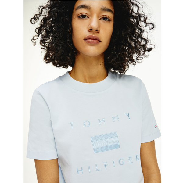 Tommy Hilfiger LOGO EMBROIDERY TONAL CREW NECK T-SHIRT BREEZY BLUE  29582
