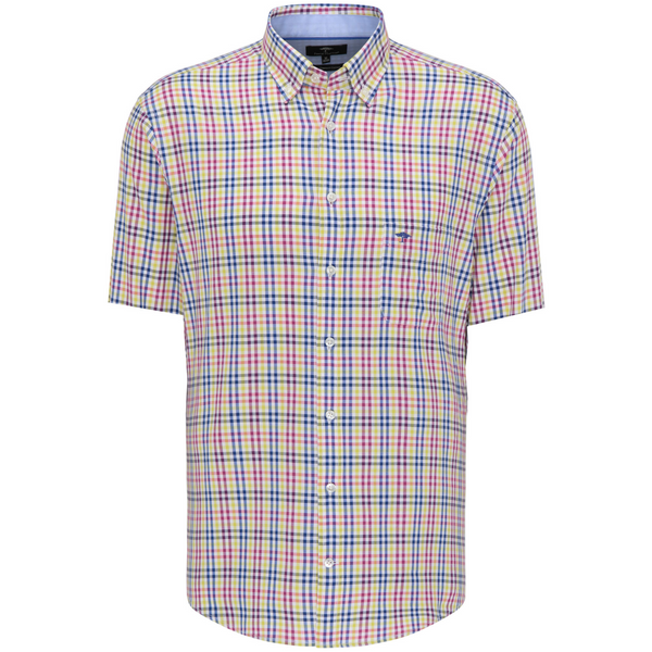 Fynch Hatton Casual Fit Short Sleeved Shirt 1121-5031 - Thistle-Ultramarine