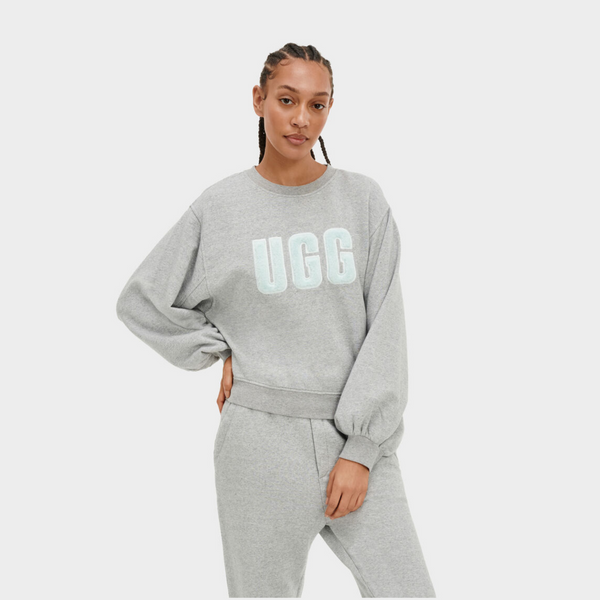 Ugg FUZZY LOGO BROOK CREWNECK ICE