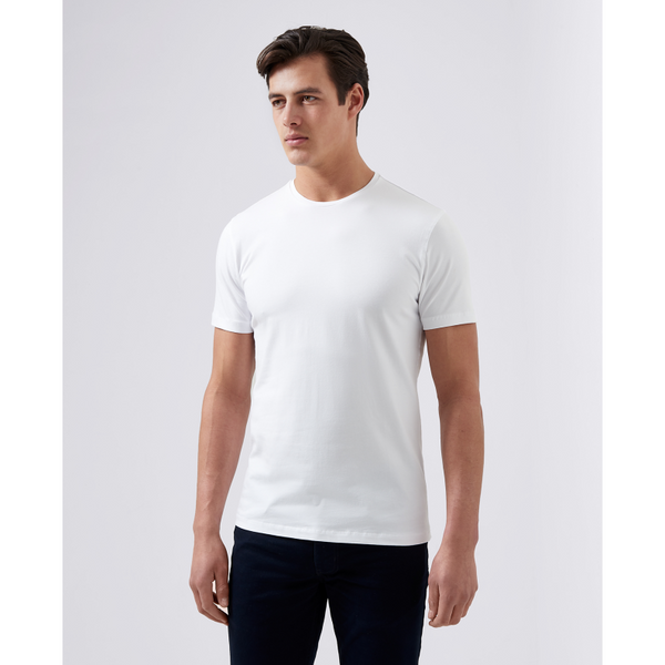 Remus Uomo Short Sleeve Casual T-Shirt Soft and Stretchy Luxurious Feel 53121 - White