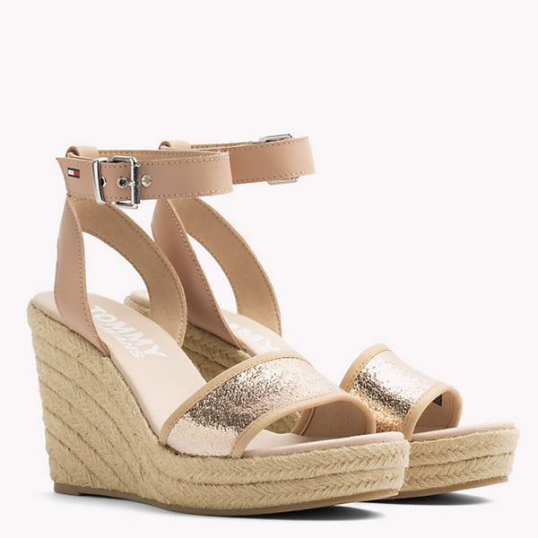 Tommy Jeans Rose Gold Wedge Heel Sandles 236