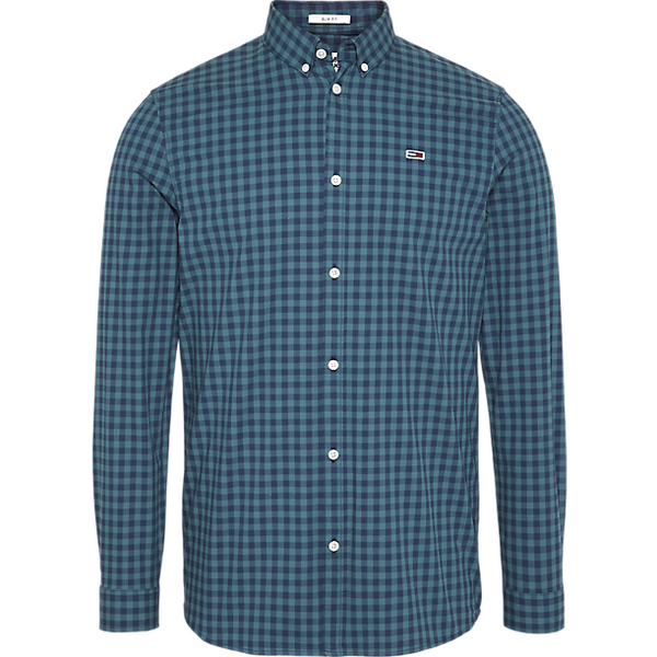 Tommy Jeans Men PURE COTTON SLIM FIT GINGHAM SHIRT- Atlantic Deep DM0DM06935