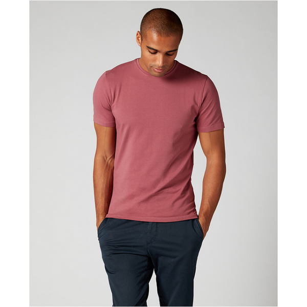 Remus Uomo Short Sleeve Casual T-Shirt Soft and Stretchy Luxurious Feel 53121 - Berry