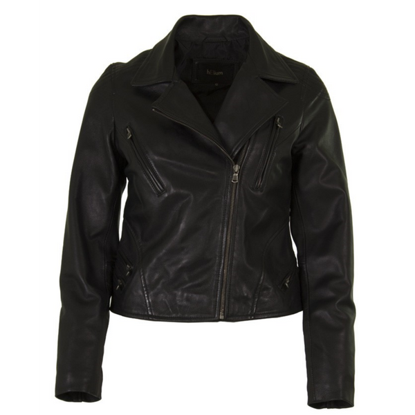 Helium Leather Black Biker Jacket JL-0304