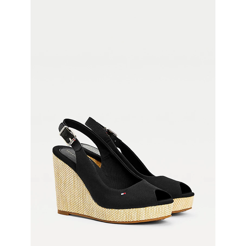 TOMMY HILFIGER ICONIC SLINGBACK WEDGES FW0FW04789 BLACK