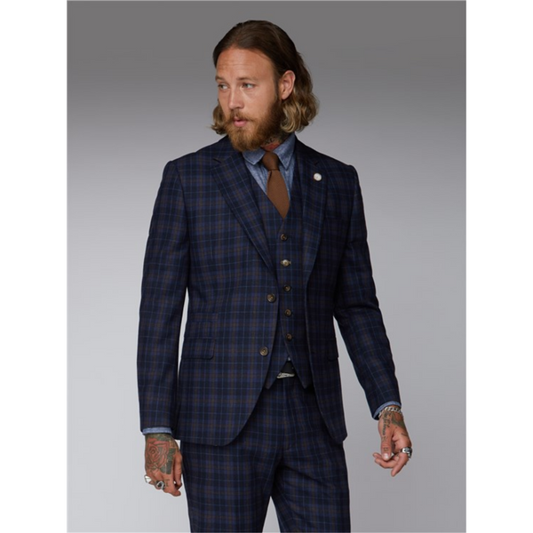 Gibson London Blue Check Tartan Suit Jacket & Trousers G19204