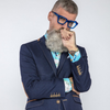 Fynch Hatton Supersoft Button Down Pure Cotton Shirt Navy/Sky