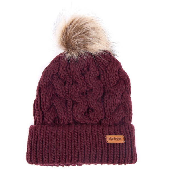 BARBOUR PENSHAW CABLE KNIT BEANIE BORDEUX