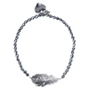 Rosie Fox Silver Hematite Lucky Feather Bracelet FJB636