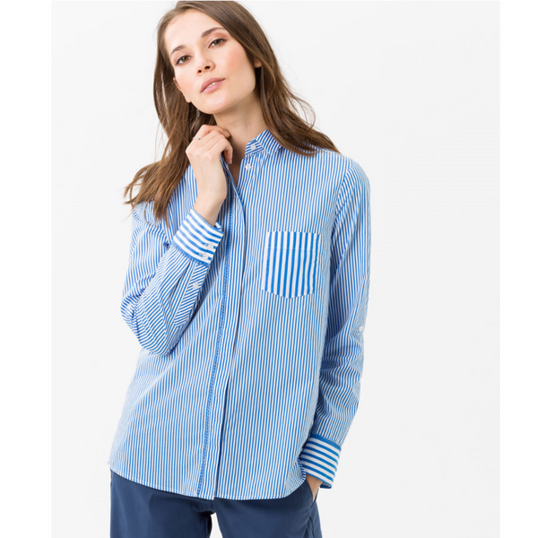 Brax Victoria Stripe Shirt with Contrast Pockets 43-5947
