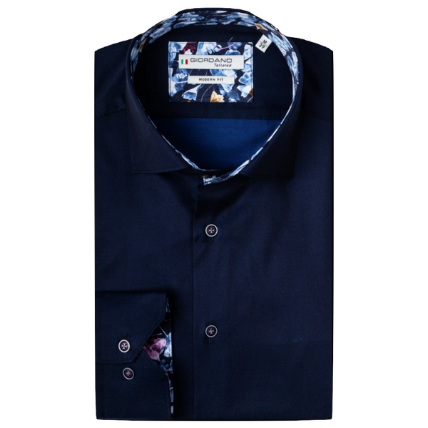 Giordano Leaf Trim Soft Fine Twill Shirt - 207849 Navy