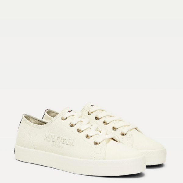 Tommy Hilfiger LOGO EMBROIDERY LOW-TOP TRAINERS 5123 - Ivory