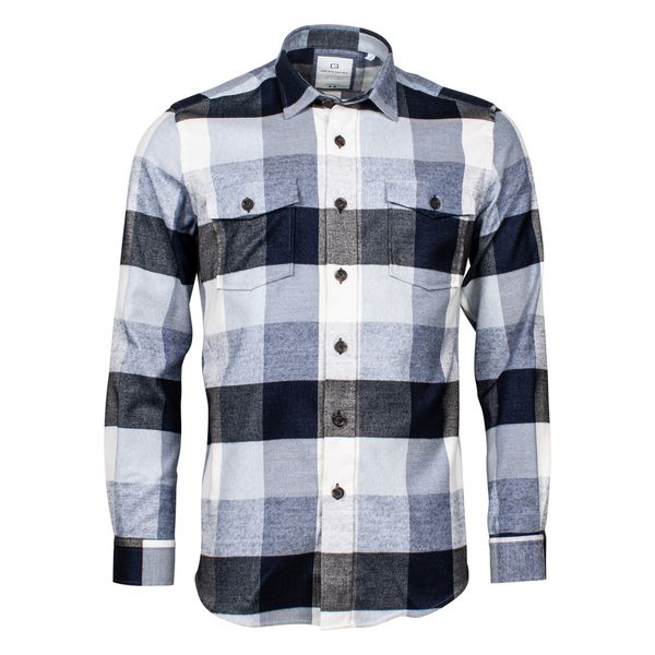 Giordano Baggio Flannel Block Check Shirt 207874 - 60 - Dark Navy