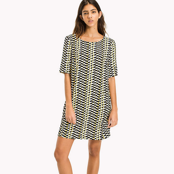 Tommy Jeans Essential A Line Dress in Yellow Check 4214