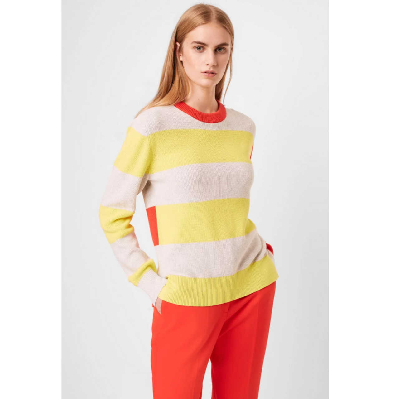 French Connection Nuka Neon Stripe Cotton Knit 78NAM