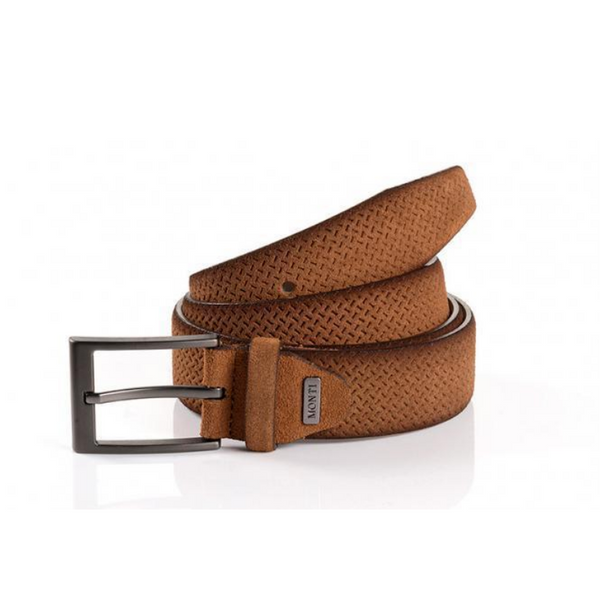 Monti Suede Leather Casual Belt 06313 - Cognac
