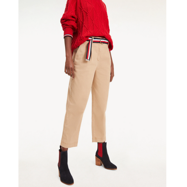 TOMMY HILFIGER ESSENTIAL CROPPED PLEATED CHINOS 26509